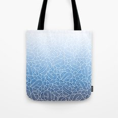 Ombre blue and white swirls doodles Tote Bag