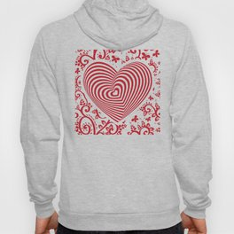 red white heart on red floral ornament background. Optical illusion of 3D Hoody
