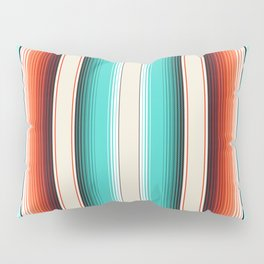 Navajo White, Turquoise and Burnt Orange Southwest Serape Blanket Stripes Pillow Sham