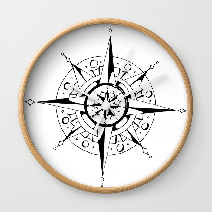 Compass Rose Wall Clock By Varekai22 Society6