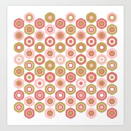 Buttons. Cute Geometric Pattern in Dark Mustard Yellow, Coral Pink and White Art Print