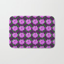 pink blooming lily flowers and green leaves plant floral burgundy pretty feminine nature pattern Bath Mat