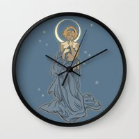 mucha Wall Clocks featuring Mucha Pin Up Girl by Karen Hallion Illustrations