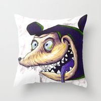 mike wrobel Throw Pillows featuring Mike  by Crooked Octopus