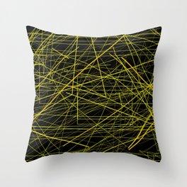 Industrial Design yellow black laser light ray night scaffolding Angelis Throw Pillow