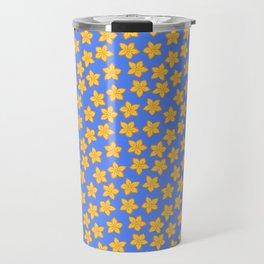 Small Yellow Flowers on Blue Travel Mug