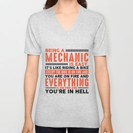 Being a HVAC Tech Is Easy Shirt Everything On Fire Unisex V-Neck
