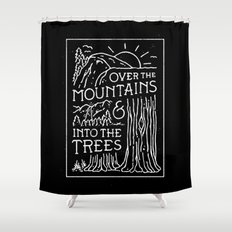 OVER THE MOUNTAINS (BW) Shower Curtain