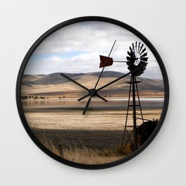 Rural Landscape of Rolling Hills in Australia Wall Clock