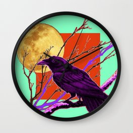 Surreal Purple-green  Mystic Moon Crow/Raven Moon Abstract Wall Clock