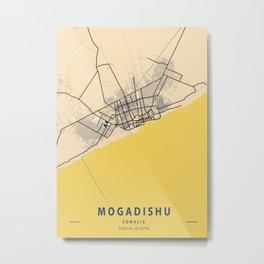 Mogadishu Yellow City Map Metal Print