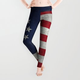 Betsy Ross flag, distressed textures Leggings
