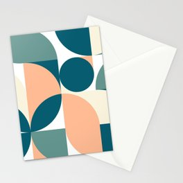 Mid-Century Moss and Peach Design  Stationery Cards