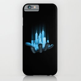 Virtualville / 3D render of miniature holographic city in human hand iPhone Case