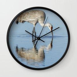 Sandhill Crane and Reflection Wall Clock
