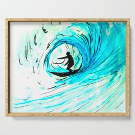 Lone Surfer Tubing the Big Blue Wave Serving Tray