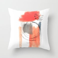 Comfort Zone - A minimalistic india ink and acrylic abstract piece in pink, black, gray, and blue Throw Pillow