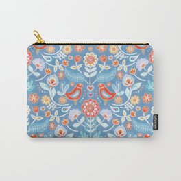 Happy Folk Summer Floral on Light Blue Carry-All Pouch