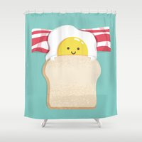 eat Shower Curtains featuring Morning Breakfast by Picomodi