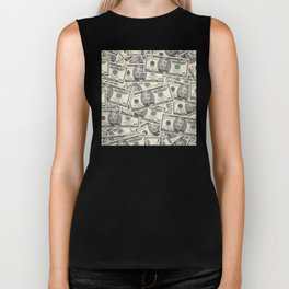 Collage of Currency Graphic Biker Tank