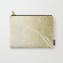 Paris France Minimal Street Map - Gold Foil Glitter Carry-All Pouch