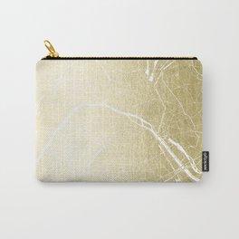 Paris France Minimal Street Map - Gold Foil Glitter Carry-All Pouch