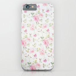 Elegant blush pink white vintage rose floral iPhone Case