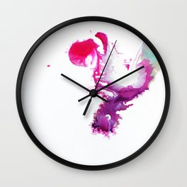 Happiness Now Abstract Watercolor Painting Wall Clock
