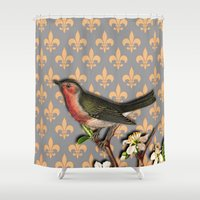 robin Shower Curtains featuring Robin by Mr and Mrs Quirynen