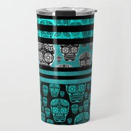 Blue Candy Skull Print Travel Mug