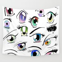 manga Wall Tapestries featuring Manga Eyes by TAEMI.