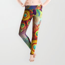 Mandala Star,Abstract Playful Graphic Art Leggings