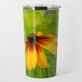 Yellow Flower Green Background Travel Mug