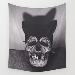 Original Charcoal Drawing of Skull Wearing a Cat Mask Wall Tapestry