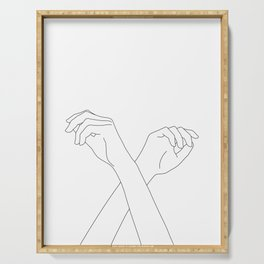 Crossed hands line drawing - Edie Serving Tray