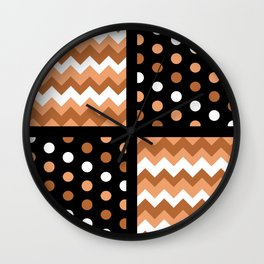 Black/Two-Tone Burnt Orange/White Chevron/Polkadot Wall Clock