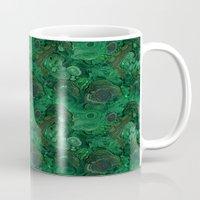 malachite Mugs featuring malachite by ravynka