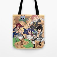 fairy tail Tote Bags featuring Fairy Tail Volume 1 Redone by Minty Cocoa