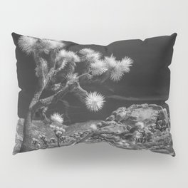Joshua Trees and Boulders in Infrared Black and White at Joshua Tree National Park California Pillow Sham