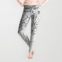 Cute Black White floral doodles and confetti design Leggings