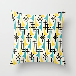 Mid Century Modern Atomic Wing Composition Turquoise & Yellow Throw Pillow