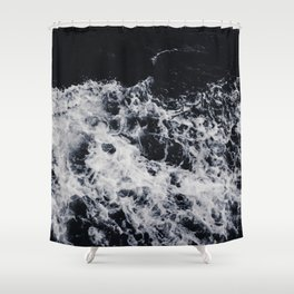 OCEAN - WAVES - SEA - ROCKS - DARK - WATER Shower Curtain