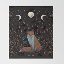 Autumn Fox Throw Blanket
