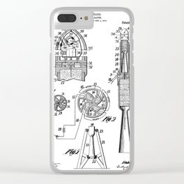 Rocket Ship Patent - Nasa Rocketship Art - Black And White Clear iPhone Case