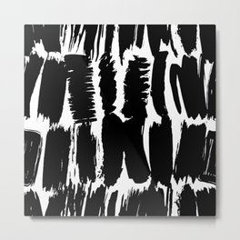pattern black brush strokes, abstract simple scandinavian style grunge texture. trend of the s Metal Print