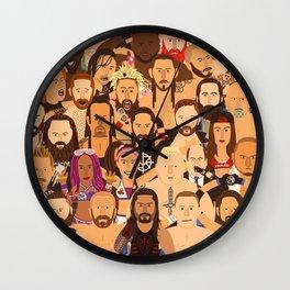 Pro Wrestling Superstars Illustration Wall Clock