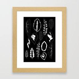 Tropical Leaves on Black Framed Art Print