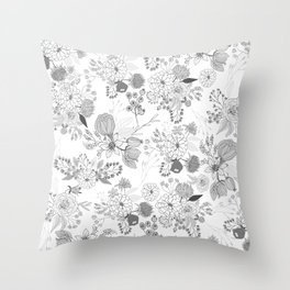 Modern elegant black white rustic floral illustration Throw Pillow