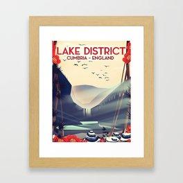 Lake district, Cumbira Travel poster. Framed Art Print