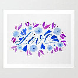 Love and flowers - blue and purple Art Print